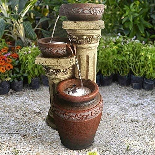 Wehmann Solarspringbrunnen Solarbrunnen Toskana Garten Brunnen Kaskade Komplettset für Garten und Terrasse Tag und Nacht ! NEU mit gratis Netzteil!