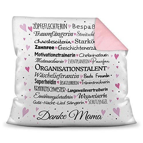 Kissen mit Spruch für Mama - Danke Mama - inkl. Kissenfüllung - Deko-Kissen / Geschenk-Idee Geburtstag Muttertag / Bestes Farbkissen Rückseite Altrosa