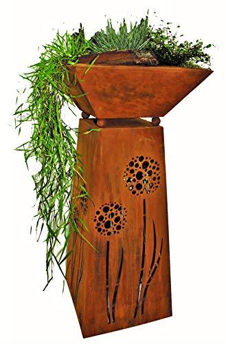 Rostikal Blumensäule 72 cm Pflanzschale Gartendeko Vintage Deko Pflanzsäule mit Schale Gartendeko Rost