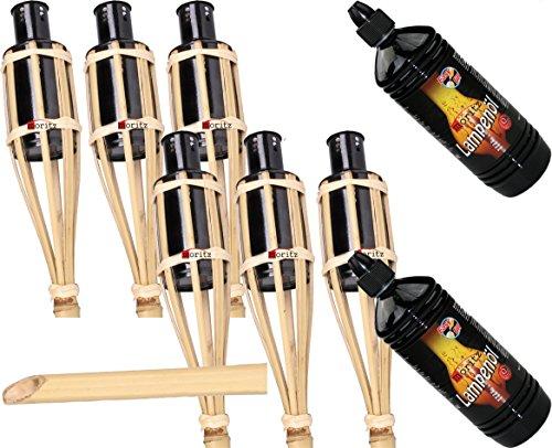 Moritz Gartenfackel Garten Bambusfackel Bambusfackeln Gartenfackeln 90cm Öllampen Bambus Deko Fackel incl. 2 Liter Lampenöl (6 Fackeln und 2 X Lampenöl)