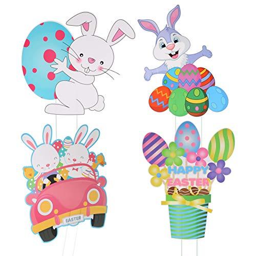 SOIMISS 4pcs Gartenstecker Ostern Farbige Happy Easter Hase Eier Auto Oster Requisiten Dekorationen Lustige Hase Oster Hof Pfahl Zeichen für Hausgarten Deko