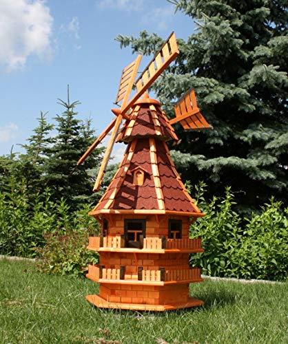 Rießige XXL Windmühle mit Solar rot Typ 14.1