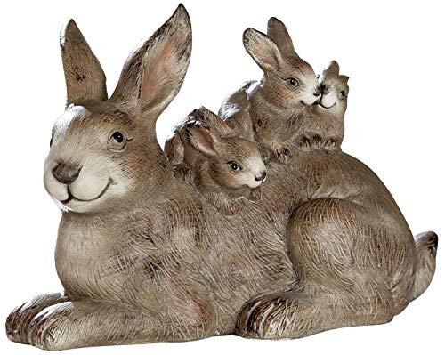 dekojohnson Deko-Hasenfamilie Hasengruppe Gartenfigur Gartendeko Osterdeko Osterfigur Hasenmutter mit Hasenkinder Vier Osterhasen braun 34cm