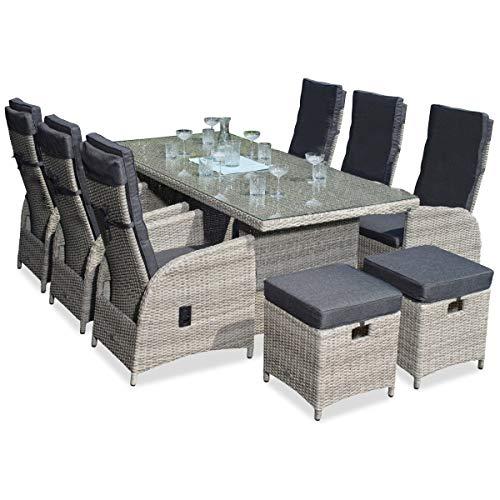 Green Spirit - Garten Sitzgruppe Marbella - Hellgrau, Polyrattan, für 8 Personen, Sicherheitsglas, Wetterfest, Gartenmöbel-Set mit Tisch, 6 Sessel, 2 Hocker