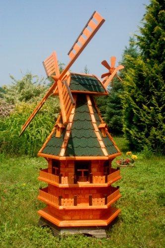 Deko-Shop-Hannusch XXL Windmühle, Gartenwindmühle, Windmühlen aus Holz, Beleuchtung Solar kugelgelagert 1,50m imprägniert (grün)