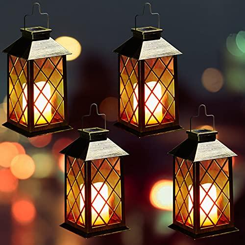 Solar Laterne mit LED Kerze und Täuschend echt Wirkenden Flacker-Effekt, OxyLED IP44 Festive Light für Deko Garten(4 Stück)
