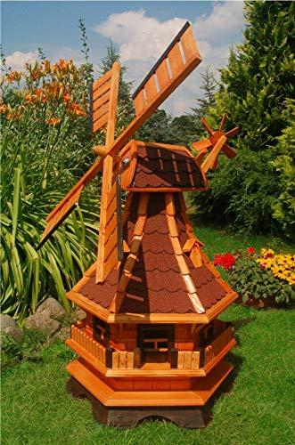 XXL Premium LED Solar Windmühle Holz rot 130cm kugelgelagert Garten Deko 1,3m