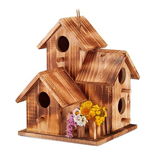 Relaxdays Vogelhaus, zum Aufhängen, Balkon, Terrasse, Garten, gebranntes Holz, Deko Nistkasten, HBT 34x20x19 cm, natur