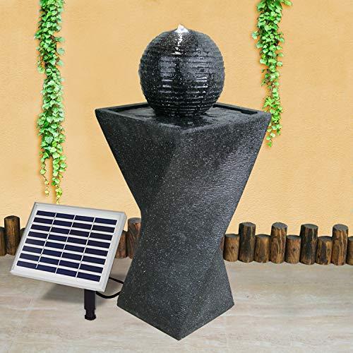 Gartenbrunnen Solarbrunnen Brunnen Granit-Black mit LED-Licht und Li-Ion-Akku, Vogelbad Wasserfall, Gartendeko mit Pumpe, Wasserspiel für Garten Terrasse, Balkon, Sehr Dekorativ