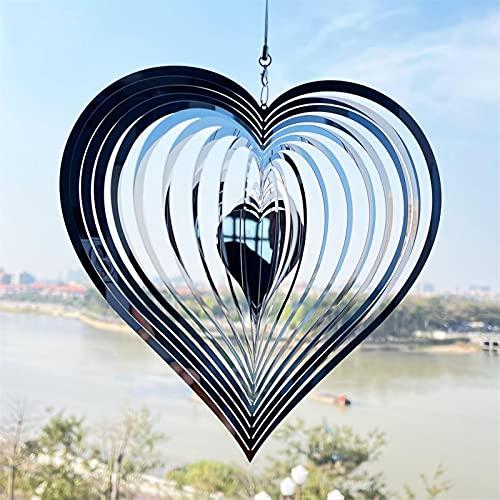 Liebe Herz Windspiel, Liebe Herz Wind Spinner 3D Edelstahl Windspiel Hängen Metall Windspiele Outdoor Garten Dekor Wind Spinner Handmade Heart Mobile Wind Catcher, Edelstahl Windspiel