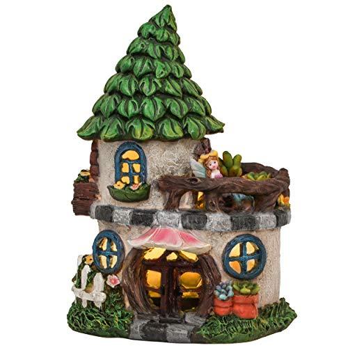 TERESA'S COLLECTIONS Feenhaus für Garten Solar LED Gartenleuchte aus Kunstharz 22cm Wasserfest Fairy House Elfenhaus mit Miniatur Fee Figur Gartenfigur für Außen Balkon
