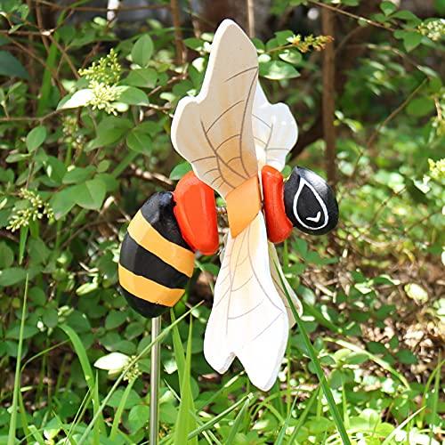 goodjinHH 01 Gartendeko,Holz Bee-Windrad,Windmühlen Garden Bienen Windskulptur,Bunt Windmühle Windradfolie,für Gartendeko Outdoor Deko Gartenkunstdekoration Rasen Dekoration (14.5X9.3cm)