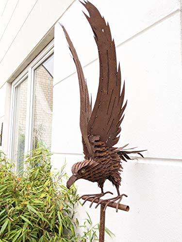 Zen Man Edelrost Gartenfigure aus Metall Gartendeko Gartenstecker Rost Adler Beetstecker Gartenskulpture Tiere Handarbeit L43cm H195cm (120 +75)