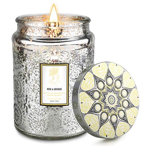 Kerze für Hausduft, 18 Unzen große Aromatherapiekerze mit Rose und Beeren Duft, 150 Stunden lang anhaltende und stark duftende Luxuskerze für Frauen und Männer als romantische Geschenke-Sternsilber