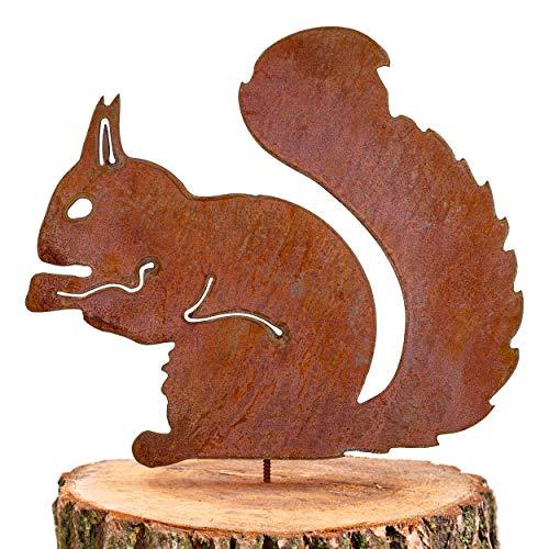 GK rostiges Eichhörnchen sitzend - Baumstecker edelrost deko Höhe 25cm x Breite 21cm - Metall Rost Gartendeko als Eichhörnchen Figur- Rostdeko Metall Rost Gartenstecker