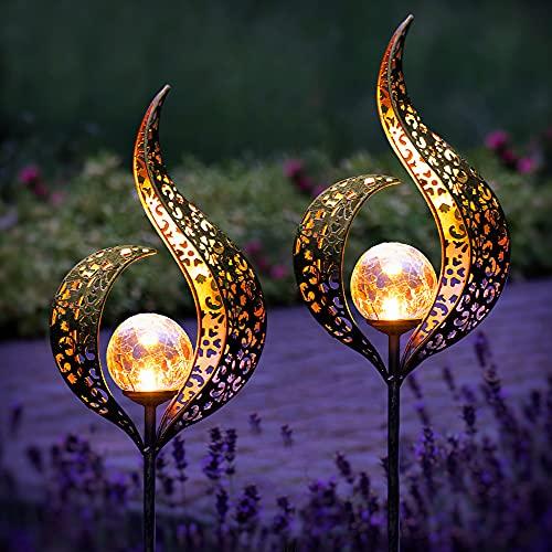 Gadgy Set von 2 Solarlampen für Außen Flamme | Wasserdichte Solar Lampe für die Garten dekoration | LED Gartenlampen