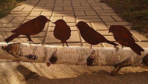 Dewoga Edelrost Vögel mit Schraube zum Eindrehen in Holz 4 Vögel Metall
