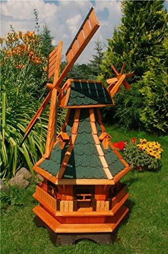 XXL Premium LED Solar Windmühle Holz grün 130 cm kugelgelagert Garten Deko 1,3m grün