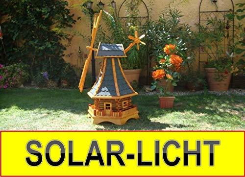 Windmühle Solar Premium XXL Holz massiv, wetterfest,robust mit Bitumen, MIT WINDFAHNE Windrad-Seitenruder, Windmühlen Garten, imprägniert + kugelgelagert 1,30 m groß blau blaugrau hell grau hellgrau