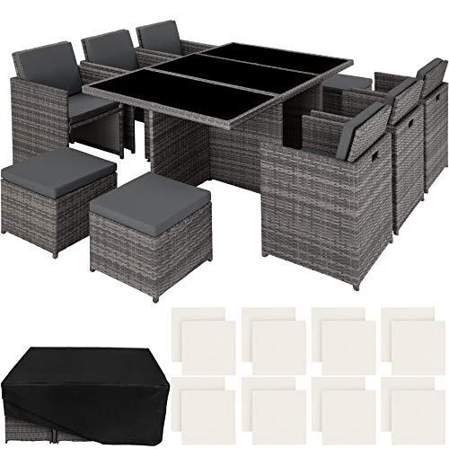 TecTake 800855 Aluminium Poly Rattan Sitzgruppe 6+1+4, klappbar, für bis zu 10 Personen, inkl. Schutzhülle und Edelstahlschrauben (Grau | Nr. 403821)