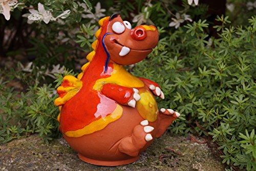 Rostalgie Töpfer Keramik Drache Rizzy rot Gartenstecker Frostfest Tierfigur Handarbeit Dekofigur