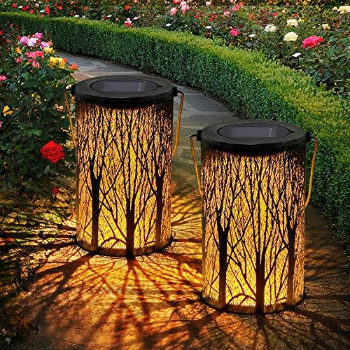 Solar Laterne,OxyLED 2 Stück IP44 Wasserdicht Dekorativ Solar Laternen für Draußen,Garten Solar Laterne Dekorationen für Weg Garten Patio Terrasse und Hof Weihnachten(Warmweiß)