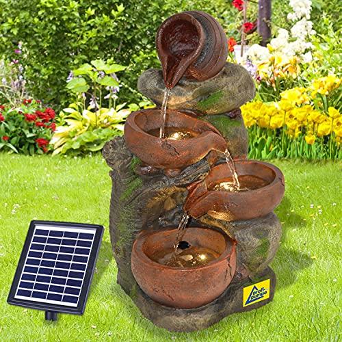 Solar Gartenbrunnen Brunnen Solarbrunnen 4-TONKRÜGE IM BAUMFELS mit LED-Licht Zierbrunnen Wasserfall Gartenleuchte Teichpumpe für Terrasse, Balkon, mit Pumpen, mit Liion-Akku