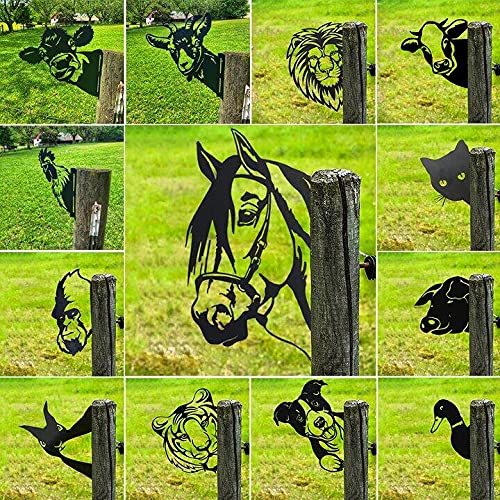 11 Typen Rostiges Cow/Tiger/Hund/Orang-Utan Tier Spähen- Baumstecker edelrost deko 30x20.8cm, Bauernhof gucken Tier Rost Pferd Metallkunst, Metall Rost Gartendeko Outdoor Garten Dekoration