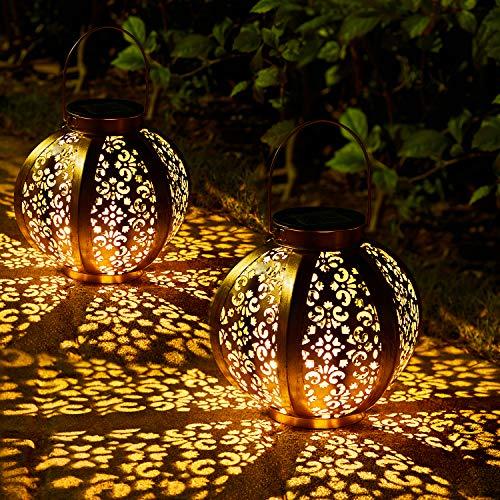 2 Stück Solar Laterne für Außen,OxyLED IP44 Wasserdicht Dekorativ Solar Gartenleuchte,Solarlampe Outdoor Dekorationen für Weg Garten Patio Terrasse und Hof Weihnachten(Warmweiß)
