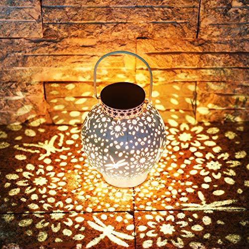 KOOPER LED Solar laterne für Außen, Vintage Metall Solarlampen für Außen Warmweiß, IP65 Wasserdicht Hängend Garten Deko Solarleuchten für Weihnachten Halloween Veranda Rasen Hof Auffahrt