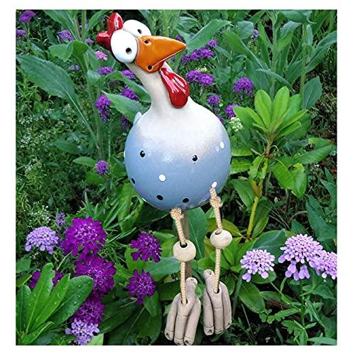 1 Stück Garten Huhn Gartenschild Keramik Figur Handarbeit Ornament Garten Skulpturen Dekoration, Hühnerhof Kunst Gartenstecker, Tierfigur Garten Plug Gartendeko Skulpturen Dekoration (Blau)