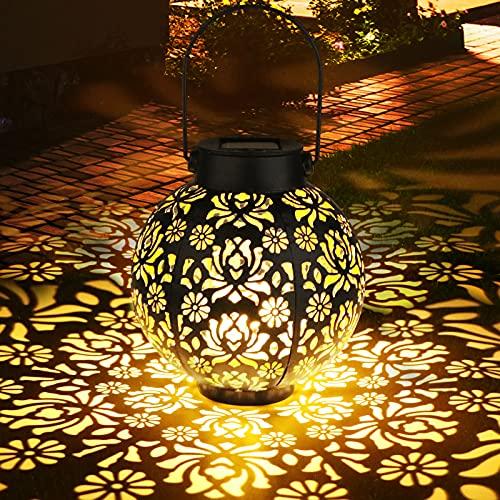 Solarlaterne für Außen, Zorara LED Metall Solar Laterne Aussen Hängend IP65 Wasserdicht, Solarlampen für Außen Gartenleuchte Draußen Solarleuchten Dekorative for Balkon Weihnachten Veranda Rasen Hof