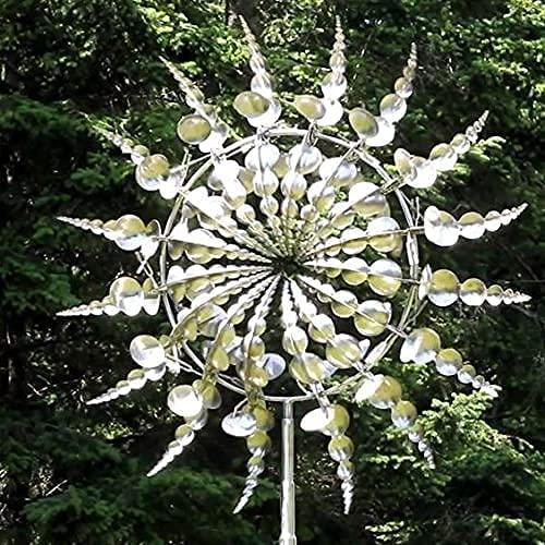 Yigenten Einzigartige und magische Metall-Windmühle - Skulpturen bewegen Sich mit dem Wind, Outdoor-Windfänger-Metall-Garten-Dekor, Solar-Wind-Spinner-Fänger für Terrassen-Rasen-Dekoration (1pcs)