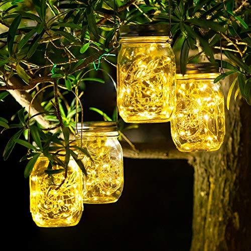 4 Stück Solarlampen für Außen - 30 LED Solar Laterne Hängend Solarlampions Außen Wetterfest Solar Lichterkette Aussen Gartendeko Laternen für Draußen Patio Balkon Garten Baum (Warmweiß)
