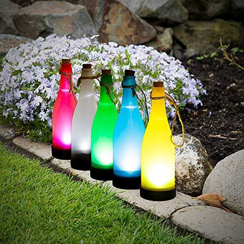esto24® 5er Set LED Solar Flaschen Licht Hängeleuchte Laterne 23cm mit Kordel zum hängen und Stellen in 5 Farben mit Dämmerungsautomatik für Terrasse, Garten oder Wegbeleuchtung Deko