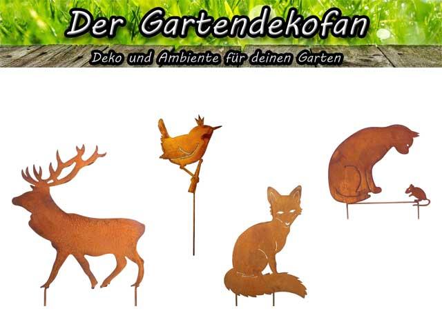 Tiere auf Edelrost Gartensteckern